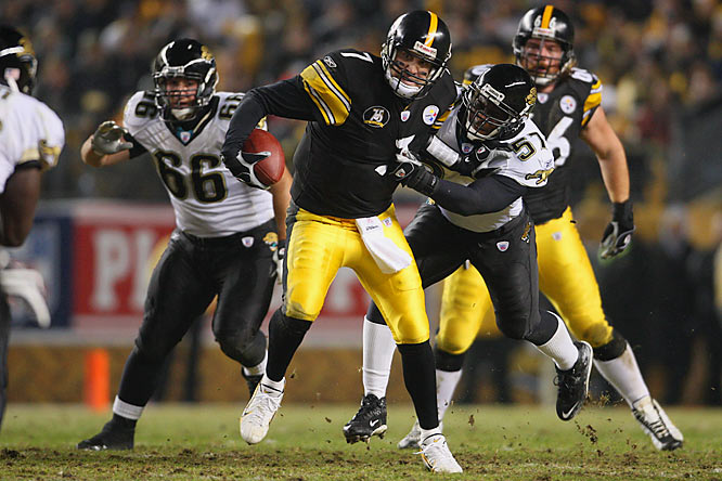 Ben Roethlisberger put the Steelers into a deep hole by throwing three interceptions before halftime. The Jaguars also had six sacks on Big Ben.