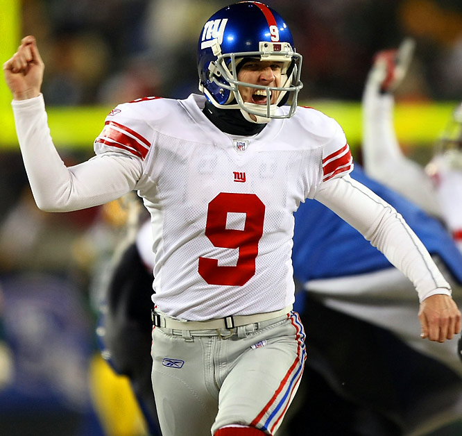 """LT! LT!"" No, not Lawrence Taylor. It's the Giants' LT of the 21st century. He missed two late field goals in frigid Green Bay before connecting in OT. Do that in the desert, and LT is the first placekicker to be a Super Bowl MVP...and he tunes out Tom Coughlin for good."