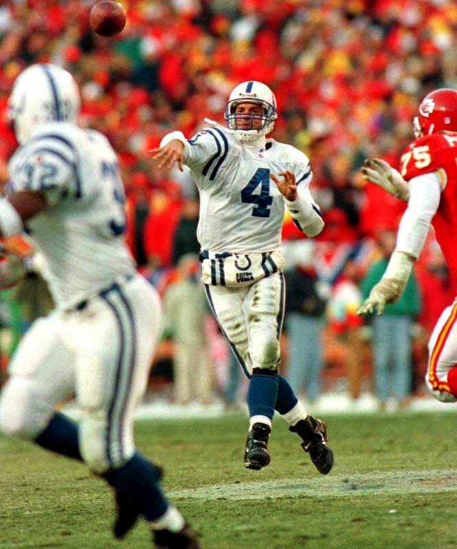 In a 35-20 rout of defending conference champion San Diego, Harbaugh tossed two touchdown passes and scrambled for a third to lead the Colts to their first playoff win since 1971. The following week, Indianapolis upended a Kansas City team with the NFL's best record. In a back-and-forth AFC title showdown with the Steelers, Harbaugh and the Colts came within a dropped Hail Mary pass of the Super Bowl -- falling short in a 20-16 thriller.