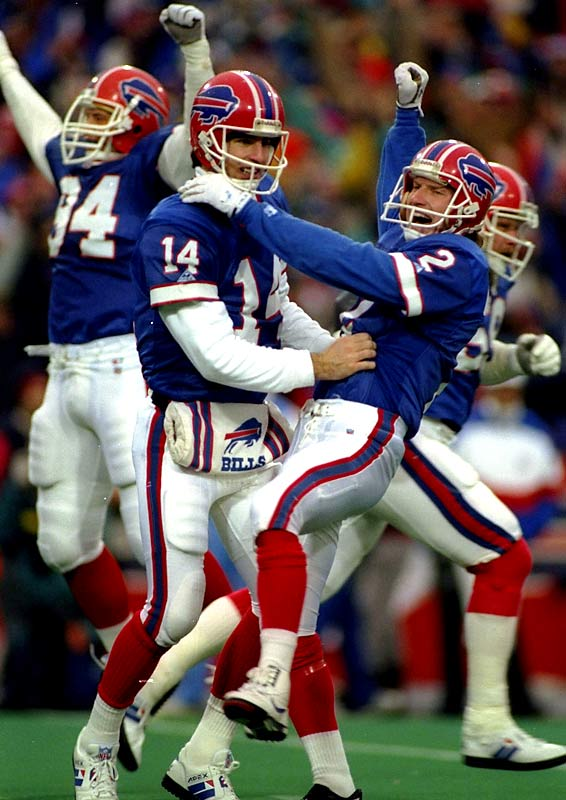 After a knee injury sidelined Jim Kelly in the regular-season finale, Reich (14) took the reins for Buffalo's wild-card playoff against the high-octane Oilers. A nightmarish first half saw Houston take a 28-3 lead -- and the visitors intercepted Reich's first pass of the third quarter to open a 32-point advantage. But Reich would come alive, firing four touchdown passes in the second half to bring the Bills all the way back. The 41-38 overtime victory remains the greatest comeback in NFL history.