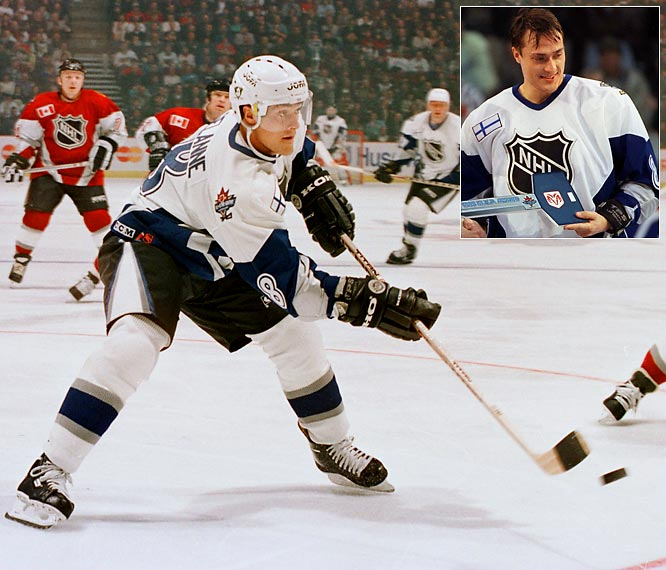With the game's format switched to World All-Stars vs. North America, the Finnish Flash hung a hat trick in Vancouver and became the first European player to win MVP honors. Alas, Selanne was also the first MVP from the losing team since goalie Grant Fuhr in 1986, as the North Americans won, 8-7.