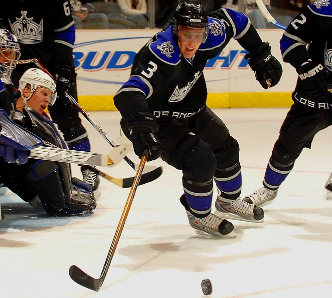 Drafted by Carolina third overall in 2005 and dealt to Los Angeles, the 21-year old Johnson has been a bruising workhorse on the Kings' blueline this season, logging 20:48 of ice time per game, blocking 82 shots (second-most among rookies) and earning a spot on the Western YoungStars squad.