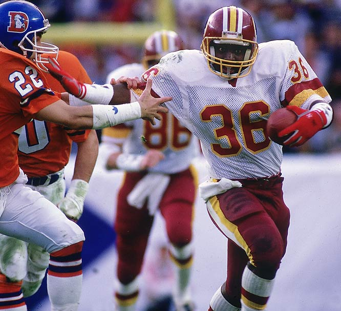 Smith gained just 602 yards on the ground during three injury-plagued NFL seasons -- but his 204-yard outburst as a rookie in Super Bowl XII remains the championship game record for rushing yards. After slipping into a 10-0 hole through 15 minutes, Washington exploded for 35 second-quarter points on their way to a 42-10 victory. Smith's most memorable play of the day -- a 58-yard touchdown gallop -- came midway through the decisive second frame and gave the Redskins a 21-10 advantage.