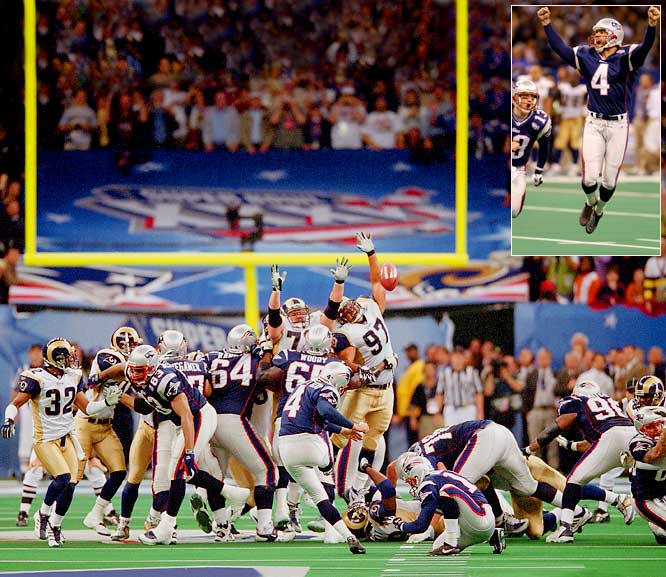 The heavily favored Rams (427 total yards) outgained the Patriots (267) by an overwhelming margin in Super Bowl XXXVI. But New England took over possession with 1:30 remaining in a 17-17 game. Brady coolly directed the Patriots downfield with no timeouts and spiked the ball with seven ticks remaining. Adam Vinatieri drilled a 48-yard field goal to vault the Patriots to their first Super Bowl title.