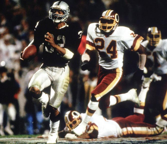 "The game had long been decided, but running back Marcus Allen supplied the exclamation point late in the third period. Taking a handoff, Allen ran left, reversed, cut up the middle and dashed 74 yards to put the Raiders up 35-9. ""It was the greatest run I have ever had on this level,"" said the game MVP, who finished with 191 yards. ""You always dream of something like this happening."""