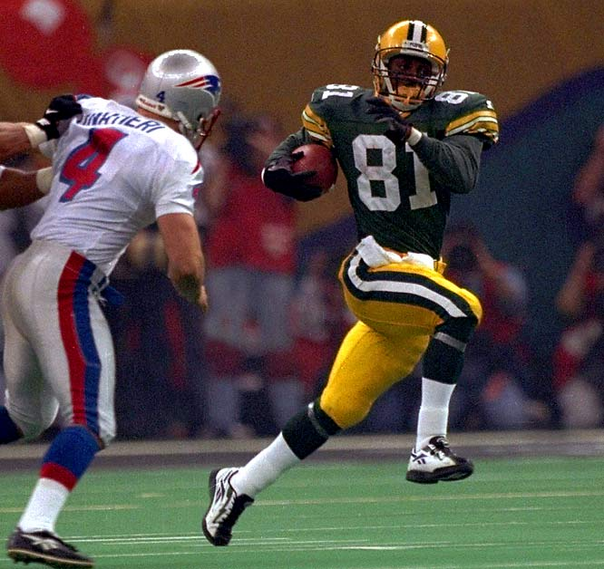 The Packers led 28-21, but the Patriots were threatening late in the third quarter when Desmond Howard broke New England's heart. Fielding a kickoff at his own 1, Howard took refuge behind a perfect wedge. A block laid kicker Adam Vinatieri low, the field opened and Howard exploded. His 99-yard return sealed Green Bay's first Super Bowl win in 29 years and made him the first special teamer to win MVP honors.