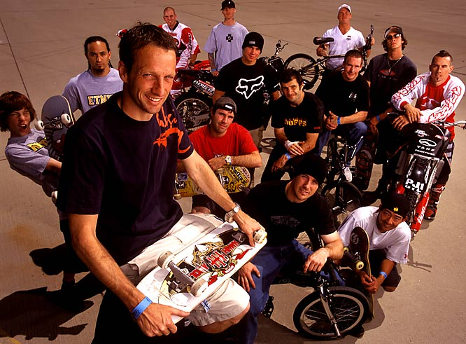 This is a group photo from 2002 of Tony Hawk's Boom Boom Huckjam crew. Tony assembled this group of extreme athletes to barnstorm the States. They had set up ramps in an expansive hanger at an old Air Force base in San Bernardino to fine tune the air show. The group included the leading athletes in BMX, moto cross, and skateboarding and featured certified legend Tony Hawk (seated in the foreground), a young Shaun White (far left), and larger-than-life bmxers Mat Hoffman and Dave Mirra. I only wish I could have shot a group X-ray of these guys.