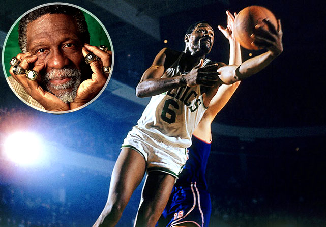 With five National Basketball Association MVP awards and 11 league titles, Russell holds the record for most championships won by an American in any sports league. He also became the first black coach in the NBA, as he assumed the role of player-coach for the `66 Celtics.