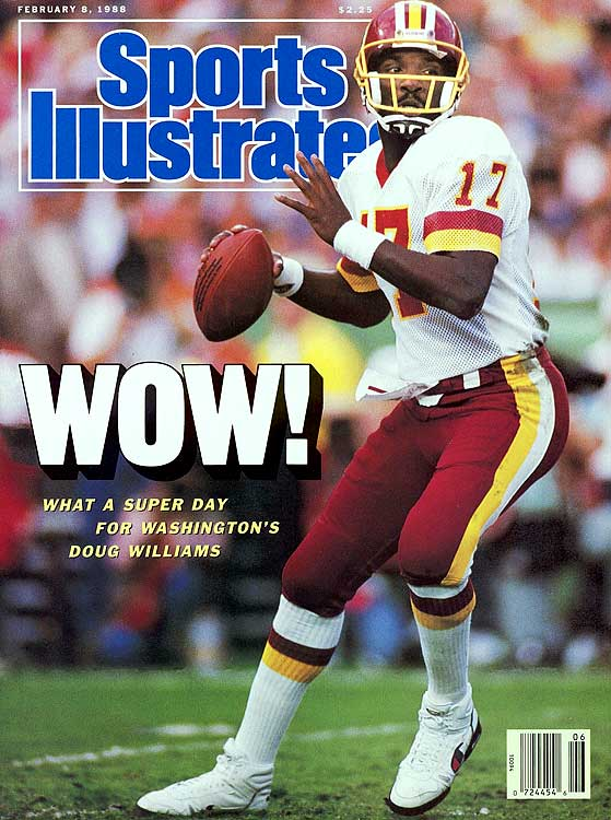 Williams became the first African-American quarterback to win the Super Bowl (XXII) and the game's MVP award when he led the Washington Redskins in a 42-10 rout over the Denver Broncos. He capped the game with 340 passing yards, four touchdowns, and an NFL record with the team's  five-touchdown performance in the second quarter.