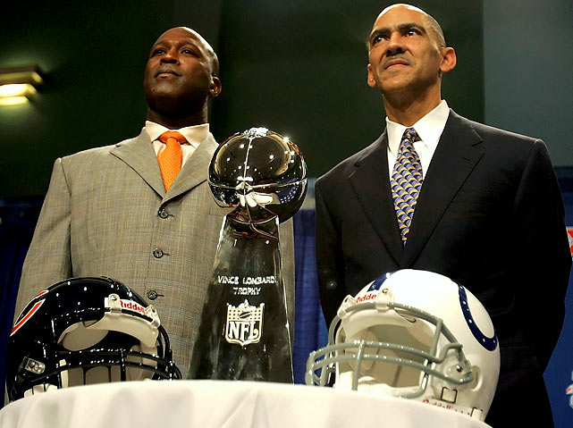 As leaders of the Chicago Bears and Indianapolis Colts, respectively, the pair were the first black head coaches to make it to a Super Bowl. <br><br>Send comments to siwriters@simail.com.