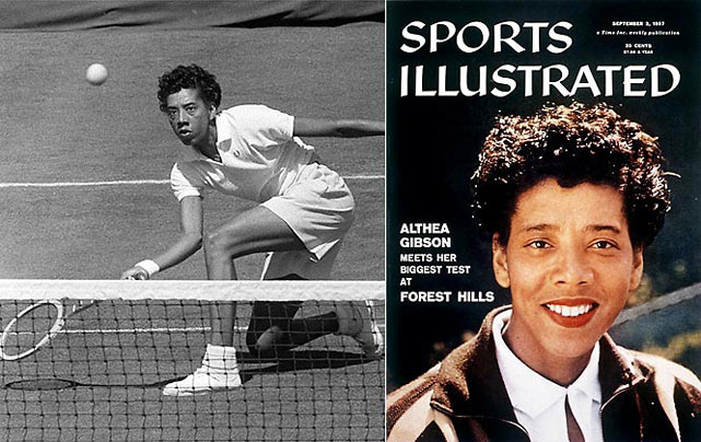 As the first African-American woman to join the world tennis tour and to win a Grand Slam title (1956), Gibson continued to break through the sport's color and gender barriers to win 56 amateur singles and doubles titles before dominating the professional scene with 11 titles.