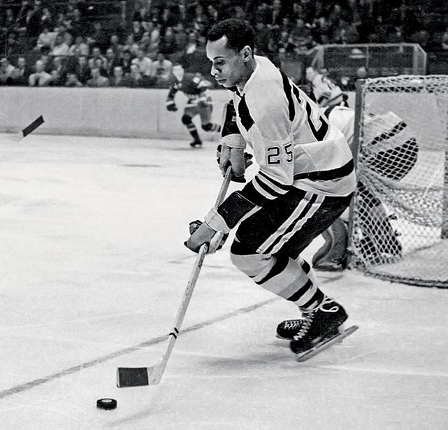 O'Ree became the first black player in the National Hockey League, making his debut for the Boston Bruins in 1958. O'Ree scored four goals and 10 assists during his NHL career (all in 1961), and won two scoring titles for the Western Hockey League.