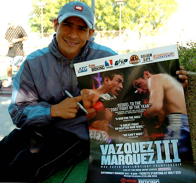 Rafael Marquez (pictured) was on the losing end of the 2007 Fight of the Year, but hopes to switch roles on Saturday when he faces Israel Vazquez for a third time. Here's a look back at bouts I and II.