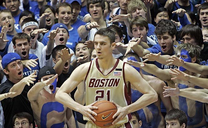 Duke fans harass Boston College's Tyler Roche as he inbounds the ball during the first half of Duke's 90-80 victory over the Eagles on Saturday.