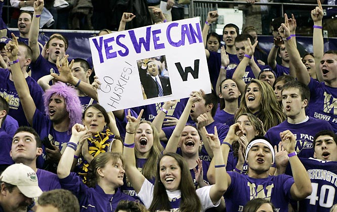 The Washington student section celebrates the Huskies 71-61 upset over UCLA Sunday on Sunday.