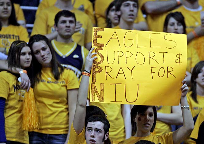 Marquette fans show their support for students at Northern Illinois.