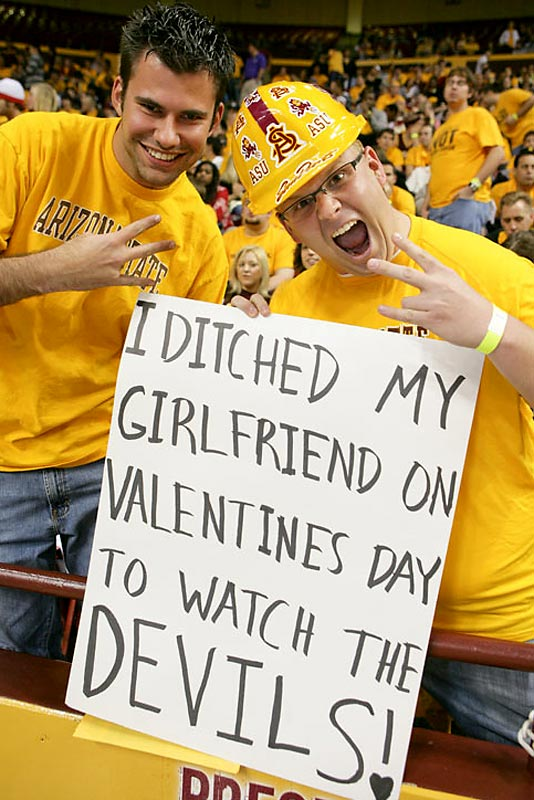 An Arizona State student foolishly brags about ditching   his girlfriend (or shall we say ex-girlfriend) on Valentine's Day to watch the Sun Devils.