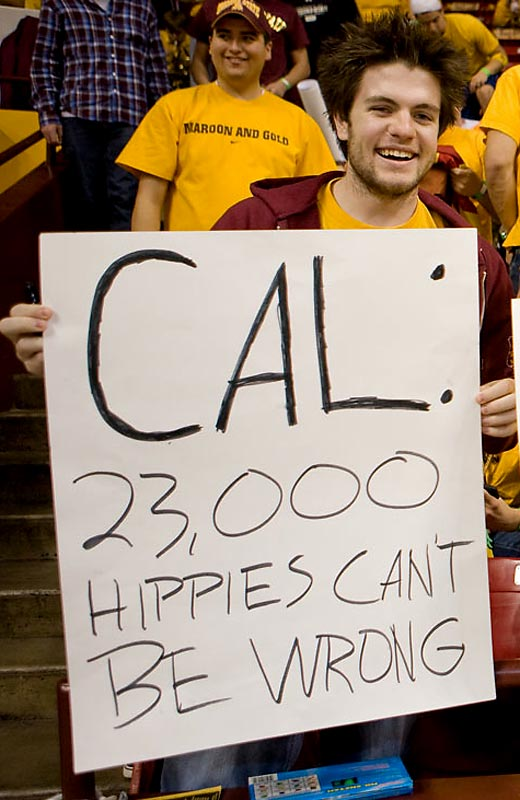 An ASU fan pokes fun at Cal and its 23,000 hippies.