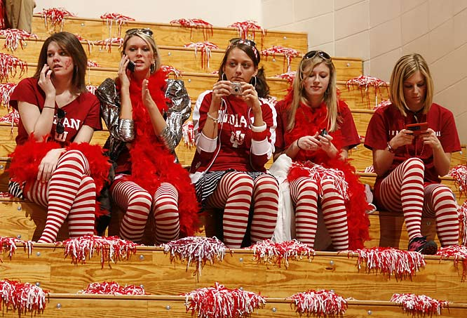 Though we give credit to these Hoosiers for their attire, someone should advise them to leave their cell phones at home.