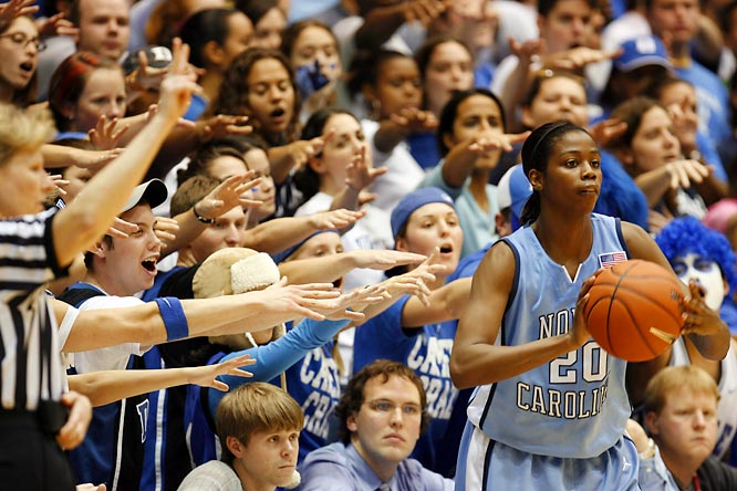 UNC's Camille Little ignores the Cameron Crazies.