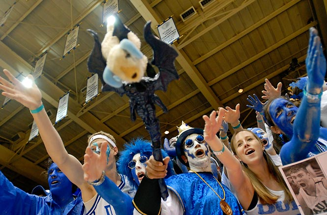 Duke fans take out their aggression on a UNC-themed stuffed animal before a matchup last February.