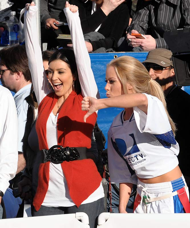 Kim Kardashian and Playmate Kendra Wilkinson also participated in the Beach Bowl.