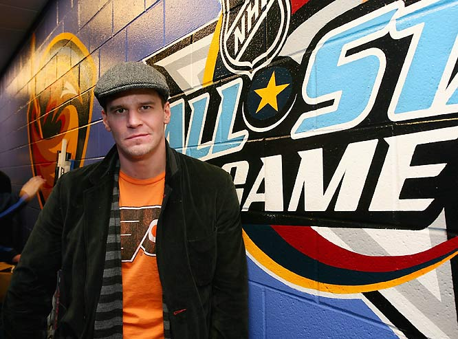Actor David Boreanaz looked thrilled to be at the NHL All-Star Game last weekend.