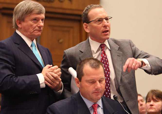 """Clemens' legal team of Rusty Hardin (left) and Lanny Breuer indignantly defended their client against Waxman's suggestion that Clemens had tampered with a witness (the nanny). Hardin later referred to McNamee's physical evidence (syringes and gauze allegedly from the Clemens injections) as """"the silliest poppycock I've ever seen. There's not a court in the world that would admit those things."""""""