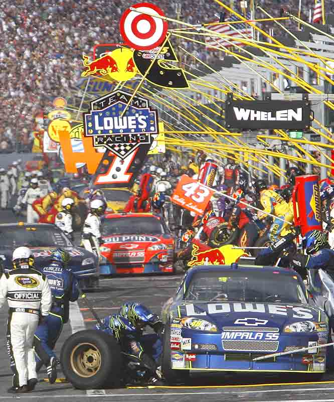 Pit Row is a bustling area for drivers and their crews approximately 170 miles into the Daytona 500.