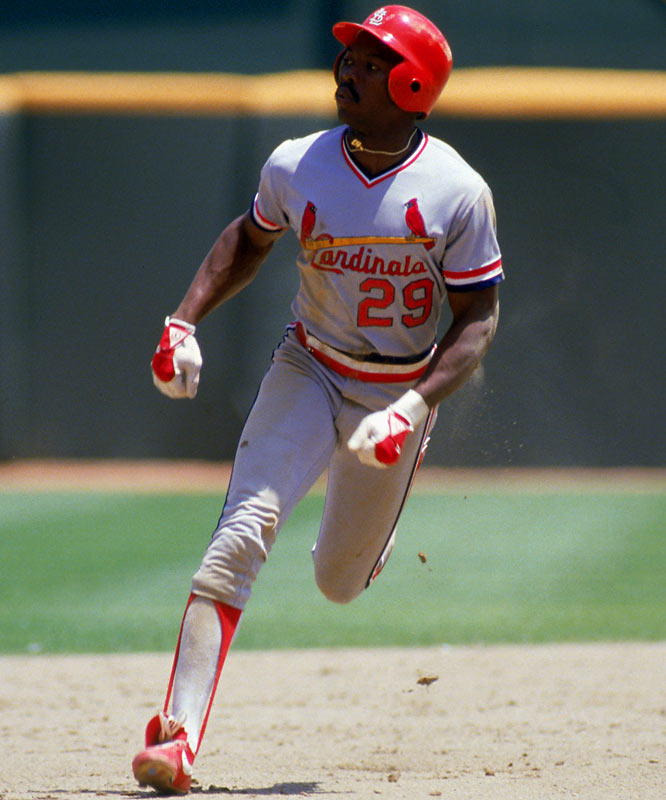 "Vince Coleman set a rookie record with 110 stolen bases for St. Louis in 1985, but he will forever be known as the ""man who got swallowed by the tarp."" Relaxing on the Busch Stadium tarp path during that year's NLCS, Coleman got caught underneath a mechanized tarp that was trying to cover the field before Game 4. Coleman injured his knee and missed the rest of the post-season--including the Cardinals seven-game World Series loss to the Royals."