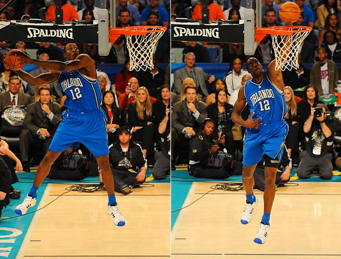 Dwight Howard started things off by standing on the baseline, tossing the ball off the reverse side of the backboard, catching it with both hands, and after peering through the glass at the rim, dunking left-handed.