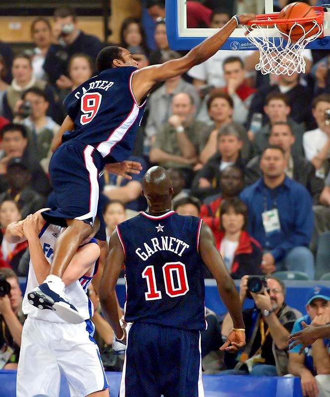 "Carter first garnered national attention for his high-flying brand of play during his three years at North Carolina. NBA renown came with his novel ""elbow dunk"" to clinch victory in the 2000 dunk contest. But international acclaim would follow months later during America's run to the gold medal at the Sydney Olympics, where his eye-popping dunk over French 7-footer Frédéric Weis became known worldwide as <i>le dunk de la mort</i> (""the dunk of death"")."