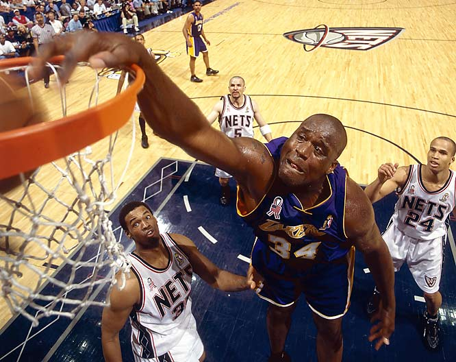 In the 20 years since NBA stat guru Harvey Pollack started tracking dunks, the Big Aristotle's incredible 3,852 slams rank light years ahead of closest competitor David Robinson (1,654). Aesthetic critics might take objection to Shaq's inclusion among the greatest dunkers ever, as his artless, matter-of-fact dunks won't score too many points for creativity. But few athletes could rival the raw power of an O'Neal dunk during the big guy's physical prime. Just ask the two backboard support units Shaq ruined on national TV during his rookie season.