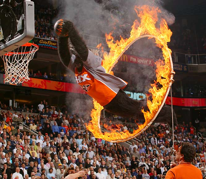 For the past 20 years, the iconic mascot of the Suns -- whose Homo sapiens identity remains a closely guarded secret -- has entertained fans with his acrobatic dunks between the third and fourth quarters of Phoenix home games. It's no surprise the Gorilla was a charter member of the Mascot Hall of Fame along with the Phillie Phanatic and the San Diego Chicken.