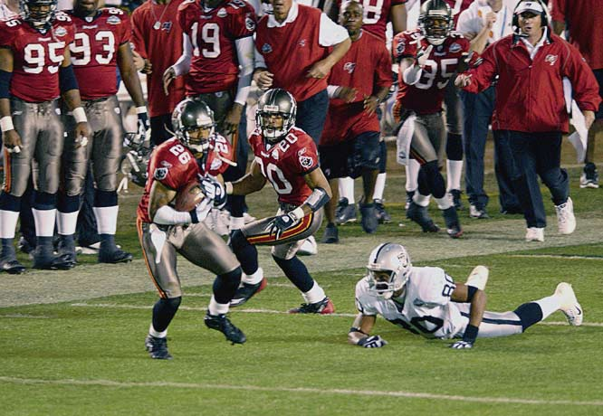 Smith's secondary mate Dexter Jackson ended up collecting Super Bowl MVP honors for his first-half heroics in Tampa Bay's rout of Oakland in the so-called Pirate Bowl. But Smith became the first and only player in game history to return two interceptions for touchdowns as the Buccaneers stomped the Raiders, 48-21.