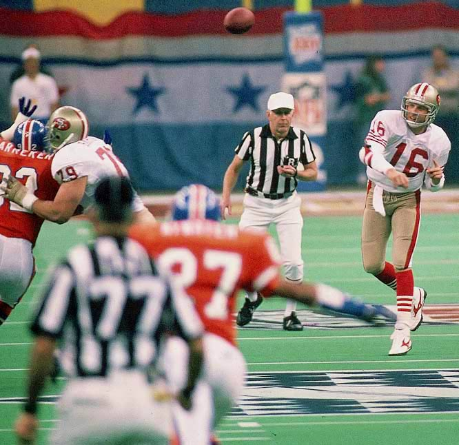 Joe Cool completed 22 of his 29 pass attempts and tossed five touchdown passes in a 55-10 thrashing of the Broncos, locking down his third Super Bowl MVP trophy. San Francisco's prolific offensive output -- 55 points -- set a Supe scoring record, which still stands today.