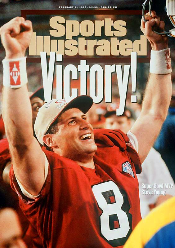 Young carved out his own legacy with a masterclass performance in San Francisco's 49-26 victory over San Diego. The longtime understudy to Joe Montana completed 24-of-36 passes for 325 yards and a Super Bowl-record six touchdown passes as the 49ers stormed to their fifth Vince Lombardi trophy.