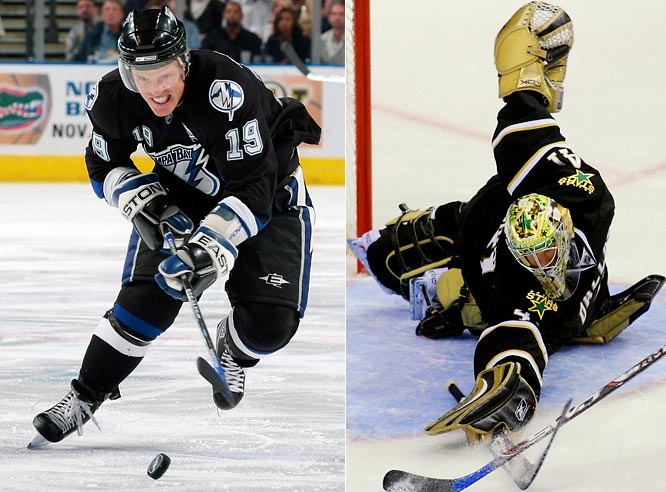 The Dallas Stars tried to boost their offense and their playoff moxie on Tuesday by getting center Brad Richards (left) from Tampa Bay in a five-player deal completed hours before the trade deadline. The Stars gave up backup goalie Mike Smith (right), forwards Jussi Jokinen and Jeff Halpern and a fourth-round pick in next year's draft for Richards and goalie Johan Holmqvist.