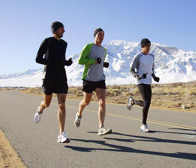 And a few determined runners, including Olympic trials champion Ryan Hall (right) with Steve Slattery (left) and Mike McKeeman.