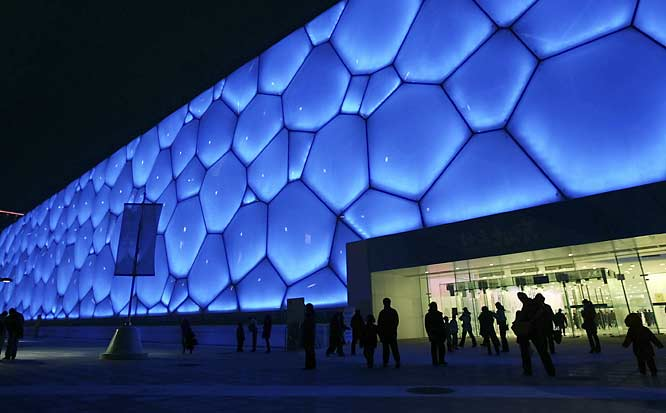 The entire building is made of a membrane-like cell structure and has a seating capacity of 17,000.