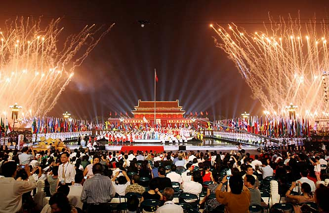 A fireworks display over Tiananmen Square was part of the ceremony to mark the one-year countdown to the Games, which will run from Aug. 8-24.