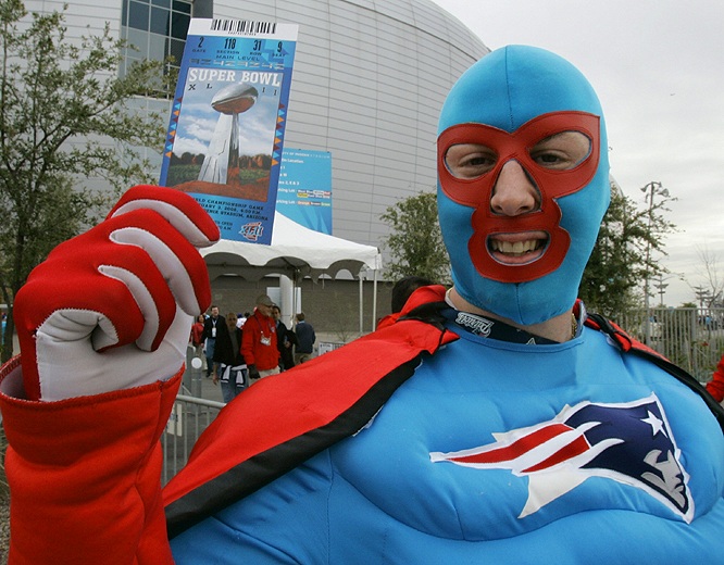 To his family, he's Derek Shanahan of Rockland, Mass., but to the legions of Patriots fans he's known as Captain New England. He still needs a ticket to get in, however.
