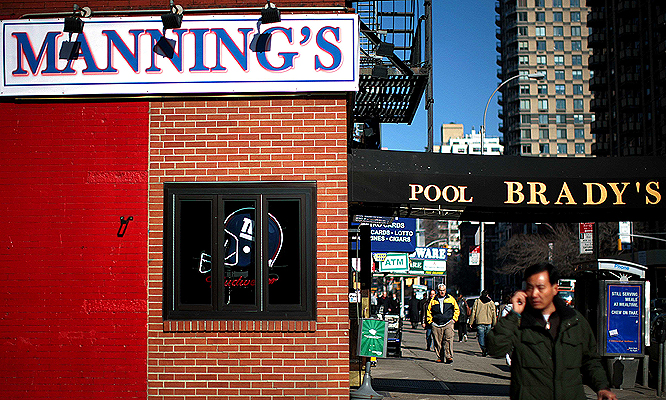 Normally this New York bar is known as Brady's ... but not for Super Bowl XLII.