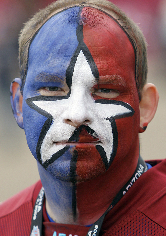 Giants or Patriots? Mike Harper, of Round Rock, Texas, clearly is a passionate fan, even if his allegiance isn't immediately clear.