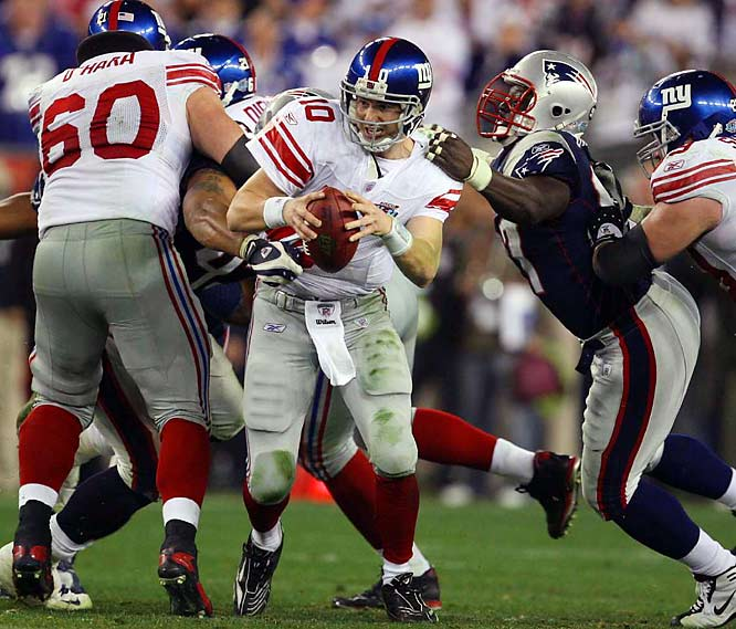 Not to be upstaged, Eli Manning engineered a game-winning drive that was highlighted by his escape from would-be tacklers on third-and-five with about a minute left, and his pass to David Tyree.