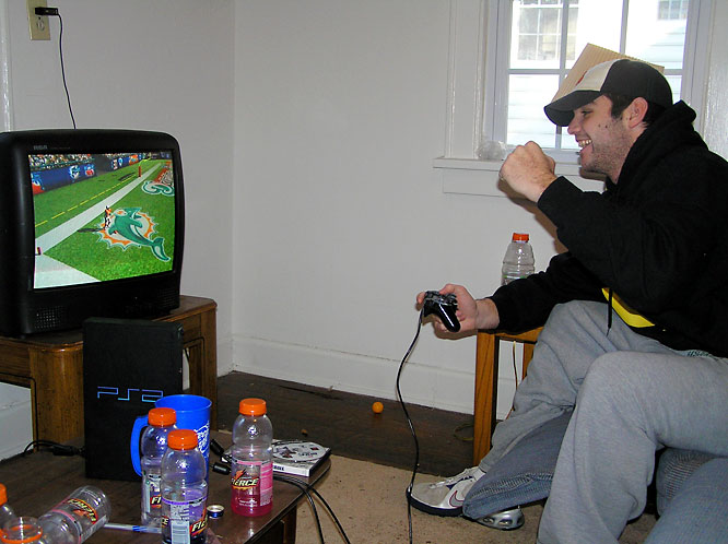 When Mike -- an English major -- isn't writing essays,  he can be found playing Madden 08.