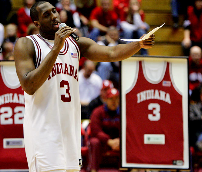 Indiana forward D.J. White speaks to the fans during senior night following a 69-55 win over Minnesota.