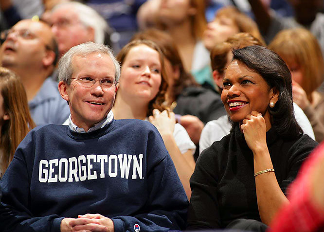 Condoleeza Rice and David Welch (the Assistant Secretary for Near Eastern Affairs) make an appearance at Saturday's Louisville-Georgetown game.
