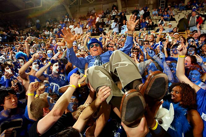 Duke's No. 1 fan, Dick Vitale, goes crowdsurfing with the Blue Devil fans.