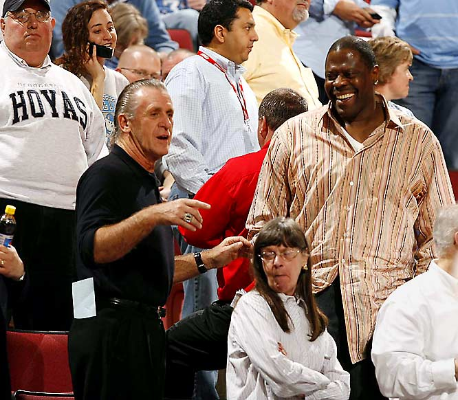 Pat Riley and Patrick Ewing were on hand to watch Georgetown's second-round loss to Davidson.